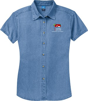 Ladies Short Sleeve Denim Shirt